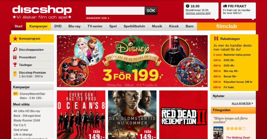 Discshop Discshop säljer all sorts multimedia som DVD-filmer, Blu-ray filmer, TV-spel och musik till din underhållning. De har även godis och snacks som du kan köpa tillsammans med dina filmer så kan du få till en riktigt mysig kväll. Discshop har fått en hel del utmärkelser för deras webbshop.  Dels har Discshop fått årets e-handlare för film och musik, samt varit med i Topp 100 på Internetworld flera gånger. De strävar hela tiden efter att kunna sälja dig multimedia på bästa och smidigaste möjliga sätt. När du handlar på Discshop kan du handla med rabattkoder vilket ger ditt ett bättre pris på det du handlar.  Det finns absolut inga nackdelar med att handla med en rabattkod på Discshop. De har även en rabattstege som du kan ta del av. Desto mer du handlar desto mer unika erbjudanden får kan du ta del av.